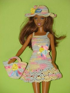 Barbie clothes Barbie dress Barbie birthday outfit Barbie doll clothes Barbie dress Dress for barbie Barbie accessory Crochet dress