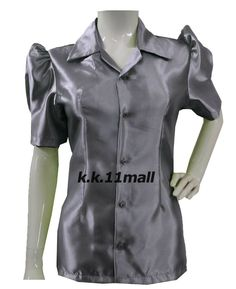 Stretchy Collar Shirt Button Down Shirt Casual Wear Gray Color Short sleeve Casual Office Wear, Casual Wear, Formal Wear, Half Sleeve Shirts, Half Sleeves, Collar Shirts, Shirt Blouses, Victorian Shirt, The Office Shirts
