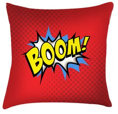 BOOM comic style childrens cushion for Sale at Bouf Funky Cushions, Cushions For Sale, Decorative Cushions, Pop Art Boom, Typography Cushions, Childrens Cushions, Painted Chairs, Comic Styles, Cushion Covers