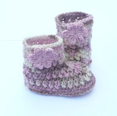 Crochet PATTERN Baby BOOTIES Multicolor Baby Boots by Keen2Crochet, $4.50