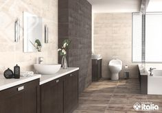 Los baños rústicos son una excelente opción que llena tu espacio de personalidad, conoce nuestras maderas cerámicas y contrastalas con la variedad de colores. #ElBañoQueTeMereces #CerámicaItalia #BañosRusticos Double Vanity, Sweet Home, Bathroom, Modern Flooring, Wooden Walls, Restaurant Bar, Light Colors, Modern Bathrooms, Flats