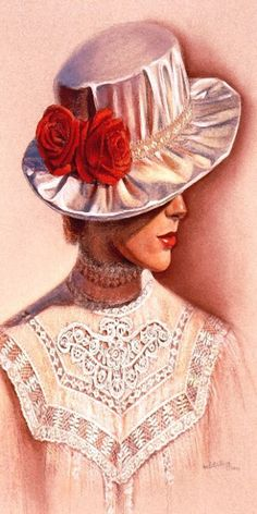 Browse through images in Sue Halstenberg's Victorian Lace Romantic Ladies and Portraits collection. Original drawings and paintings featuring Victorian lace portraits and romantic ladies. Victorian Frame, Victorian Women, Fashion Painting, Fashion Art, Portraits, Portrait Art, Art Deco Design, Hats For Women, Ladies Hats