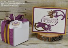 Thanksgiving Card and Gift Box made with Stampin'Up! Petals & Paisleys Collection.