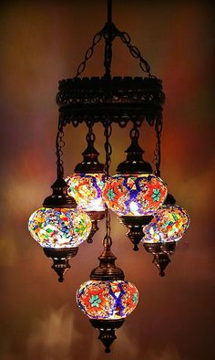 Turkish Mosaic Lamp Chandelier 5 Balls Lighting by fastsales