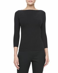 Love a boatneck! Ribbed Boat-Neck Sweater, Black by Michael Kors at Neiman Marcus.