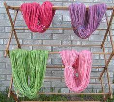 dyed alpaca yarn with kool aid pink - strawberry starfruit, red is strawberry