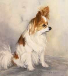 Papillon Watercolor Painting Dog Pet Art Portrait, painting by artist Debra Sisson