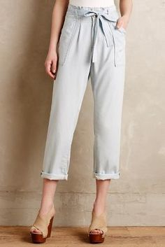 {Current/Elliott} Chambray Paperbag Trousers Tencel, cotton Adjustable sash Front slash, back welt pockets Machine wash USA NEW WITH TAGS! Fashion 101, Fashion Pants, Teacher Dresses, Weekend Style, Fashion Seasons, Spring Summer Fashion, Summer Wear, Chambray, Passion For Fashion