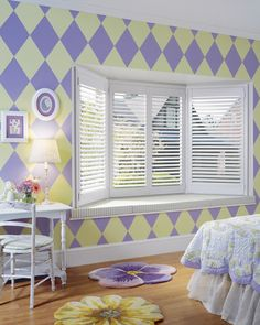 The perfect California look for any home treatment is wood shutters. Wood shutters bring an expensive and unique look to any window design. Purple Bedrooms, Guest Bedrooms, Girls Bedroom, Dream Bedroom, Interior Shutters, Wood Shutters, Bedroom Shutters, Custom Shutters, Window Shutters