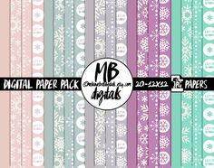 DIGITAL PAPERS winter, snowflakes, snow, chilly, cold, frost, pink, dusty blue, gray skies, grape purple, teal, digital scrapbooking by MelanieBrittDigitals on Etsy