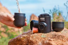 Portable espresso maker that you can take anywhere!  Just add Nespresso® Pods and hot water! No electricity or batteries needed! #portableespresso #espressomaker #wacaco #minipresso #minipressons #espresso #espressomachine #camping #hiking #coffee #coffeemaker #giftideas #campinggear