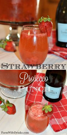 This Strawberry Prosecco Punch recipe is the perfect cocktail recipe for a crowd, wedding shower, or pool party. This Strawberry Prosecco Punch recipe is the perfect cocktail recipe for a crowd, wedding shower, or pool party. Prosecco Punch, Prosecco Cocktails, Fruity Cocktails, Champagne Cocktail, Cocktail Drinks, Sangria, Champagne Punch Recipes, Cocktail Recipes For A Crowd, Food For A Crowd