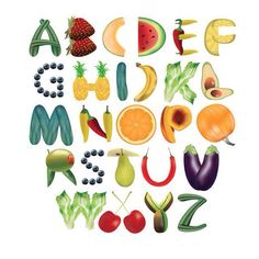 Fruit Alphabet Typography by foredasia on DeviantArt Alphabet A, Alphabet Design, Caligraphy Alphabet, Alphabet Writing, Hand Lettering Alphabet, Cool Typography, Typography Design, Food Font, Creative Teaching