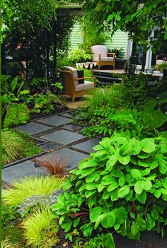 Dorable Stepping Stone Path Through Front Yard Garden Image 2 Square Pavers Zigzag Through A Leafy Shade Garden To Meet A Back Porch From Litw Page 118 Photo Illustration Allan Mandell Garden Steps, Garden Paths, Backyard Garden Design, Backyard Landscaping, Yard Design, Balcony Garden, Landscaping Ideas, Stepping Stone Paths, Fine Gardening