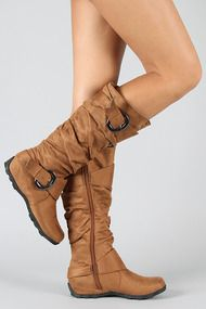 ME-------------------BD-1530 Buckle Round Toe Knee High Boot