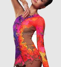 "Legends of the Fall leotard! The fall leaves spread all around the leotard shimmering with terracotta and purple colors. There is always an inspiration and pacification in your soul during this time. That's why wearing ""Legends of the Fall"" leotard your performance will become lyric and gentle. #rhythmic #gymnastics #leotard #costume #beautiful #fashion #sport #体操"