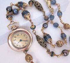 Blue Bead Pearl Vintage Antique Pocket Watch Necklace Gold Filigree Upcycled Reclaimed Jewelry Handmade, One of a Kind. $79.00, via Etsy.