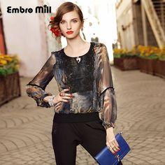 >> Click to Buy << High-end lady floral silk blouse shirt summer vintage O-neck plus size royal print flowers chiffon shirt elegant women XXL-XXXL #Affiliate