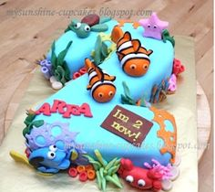 Nemo second birthday cake- I just love cartoon ocean themed colours