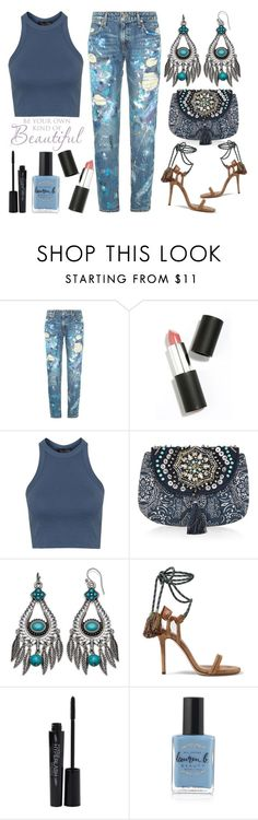 """Street Style Chic - Polo Ralph Lauren Distressed Paint Splatter Jeans"" by latoyacl ❤ liked on Polyvore featuring Polo Ralph Lauren, Sigma Beauty, Topshop, Accessorize, Isabel Marant, Smashbox and Lauren B. Beauty"
