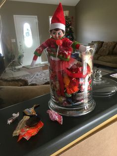 Went home for lunch to find Jingles had raided the candy jar.  Have this feeling she will be sick later.