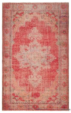 """For a contemporary look with a vintage appeal, we source rugs in excellent condition and carefully trim the piles to achieve an eye-catching """"distressed"""" look. Woven with wool on cotton, this fine rug measures 5'9'' x 9'3'' (174 cm x 282 cm). In addition to being unique and hand-made, these rugs make a very special statement about bridging generations of artisanal skill and knowledge over time with a charming look that complements any modern décor. Check out our article Get The """"Lived On"""" L…"""