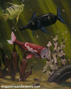 visual metaphor Two seemingly unrelated objects (fish/bottles & cans) sharing a commonality (in this case, the theme of pollution) Angst Quotes, Visual Metaphor, Save Our Earth, Ocean Pollution, Save Our Oceans, Plastic Art, Gcse Art, Ocean Art, Environmental Art