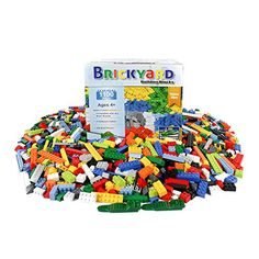 Building Bricks  1100 Pieces Compatible Toys by Brickyard Building Blocks  Bulk Block Set with 154 Roof Pieces 2 Free Brick Separators and Reusable Storage Box with Handle 1100 pcs * Click image to review more details. Note:It is Affiliate Link to Amazon.