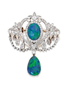 Platinum-Topped Gold, Opal and Diamond Pendant-Brooch, circa 1905. #opalsaustralia