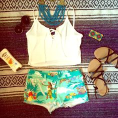 ROXY shorts These shorts are super comfortable and cute. They are a size 3 or a 26 inch waist. They have a cute hula girl print on them and are blue green. I bought these in a surf shop on the coast for $45 but am selling them for $10. They're in great condition and would be a fun addition to your closet and summer! Feel free to make an offer I interested or to ask about my bundle deals!  Roxy Shorts Jean Shorts
