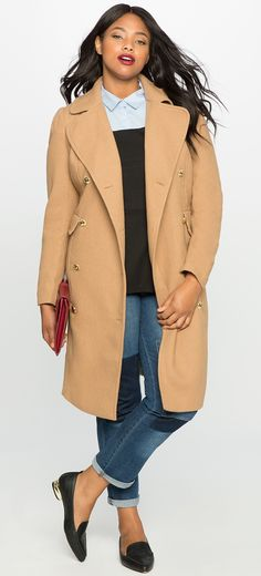 Plus Size Double Breasted Coat