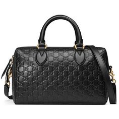 Soft Gucci Signature Top Handle Bag (€1.810) ❤ liked on Polyvore featuring bags, handbags and black