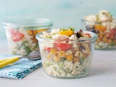 Three layers come together in Melissa's no-mess Layered Picnic-in-a-Jar: vinaigrette dressed rice, spiced chickpeas and garlicky eggplant.
