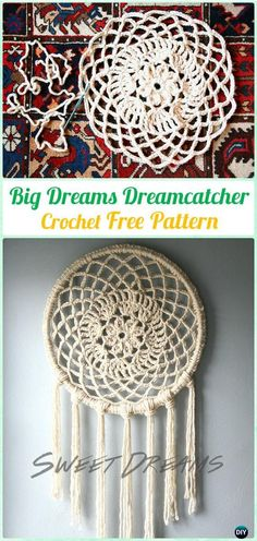 Crochet Big Dreams Doily DreamCatcher Free Patterns - #Crochet Dream Catcher Free Patterns
