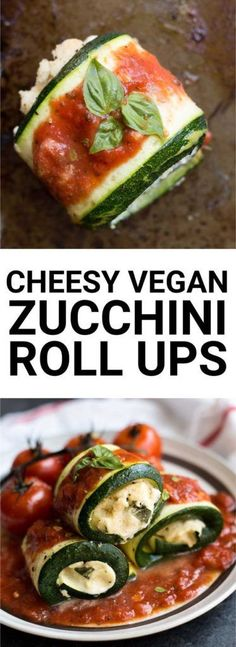These Cheesy Vegan Zucchini Roll Ups are light and flavorful and perfect for a spring and summer dinner. Naturally vegan and gluten free! Vegan Foods, Vegan Snacks, Vegan Dishes, Vegan Vegetarian, Vegetarian Recipes, Healthy Recipes, Vegan Zucchini Recipes, Bake Zucchini, Whole Food Recipes