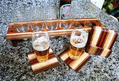 The Retro - Black Walnut & Curly Maple    Handmade Wood Mini Brew Beer Sampler and Coaster Set 6