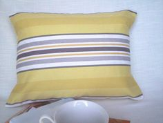 Lumbar Pillow in Yellow Grey and White Stripes by GreeneStitches, $22.00