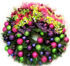 """FREE SHIPPING Enter XMAS3 at Check Out Bright Christmas Wreath Pink Lime Purple Plum Pine Holiday Wreath  (XL Approx 27"""")"""