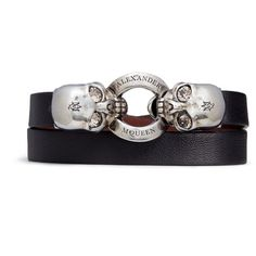 Alexander McQueen Horsebit twin skull double wrap leather bracelet featuring polyvore women's fashion jewelry bracelets black snap button charms charm jewelry skull jewelry engraved bangle clasp charms