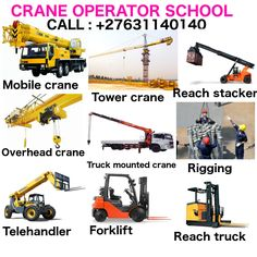 SCHOOL FOR CRANES(MOBILE, TOWER, OVERHEAD), FORKLIFT, EARTH MOVING AND MINING MACHINES +27631140140  (TLB, EXCAVATOR, GRADER, DUMP TRUCK FRONT END LOADER, DRILL RIG, LHD SCOOP) TRAINING LICENSES  Visit www.learnwelding.co.za          Requirements include a copy of id or passport, 2 id passport photos, blanket and some clothes for change. Money for upkeep or your food. and safety kit  After the training we issue with a bulldozer license and certificate. Welding Courses, Welding Schools, Truck Mounted Crane, Crane Mobile, Welding Training, Tractor Loader, Gantry Crane, School Fees, Road Construction