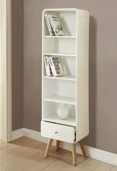 Vega, tall bookcase with a drawer in white finish ash wood veneer finish
