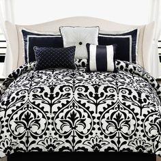Becca Comforter Set ($100) ❤ liked on Polyvore featuring home, bed & bath, bedding, comforters, bed, bedroom, room, black comforter set, black king comforter set and black damask comforter