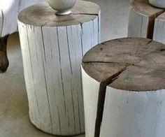 DIY: Painted Log Side Table : Remodelista