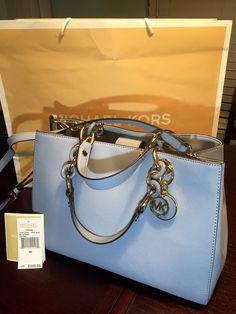 MICHAEL KORS MK Cynthia Medium Satchel Leather Bag Purse Tote Handbag Pale  Blue fe5dadfc5e9d0