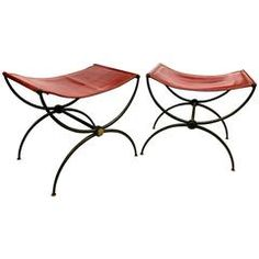 "Rene Prou Pair of ""X"" Stools in Wrought Iron and Red Hermes Color Leather"