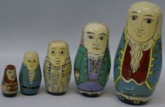"""Vintage Authentic Models Wooden Nesting Dolls """"Founding Fathers"""" #6630 on Etsy, $70.00"""
