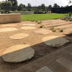 Millboard decking provides a no maintenance deck.Sandstone stepping stones set into granitic sand provides a soft transition into the garden. Melbourne, Gravel Garden, Decking, Stepping Stones, Garden Design, Gardens, Outdoor Decor, Home Decor, Stones