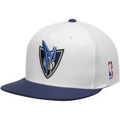 1ea2d2fc7f3 Men s Dallas Mavericks Mitchell   Ness White Navy Current Logo XL 2-Tone  Snapback Adjustable Hat