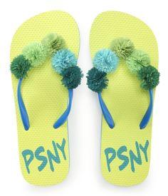 Kids PSNY Pom Top Flip-Flops