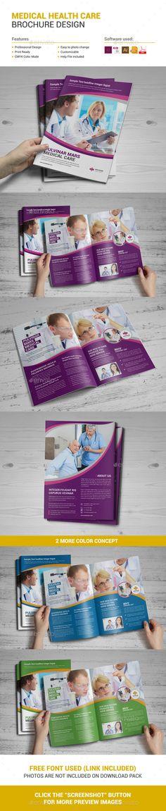 Medical Health Care Brochure Design Template Vector EPS, InDesign INDD, AI Illustrator.
